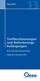 Tarifbestimmungen und Beförderung s bedingungen - RNN – Rhein ...