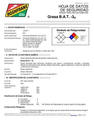 HOJA DE DATOS DE SEGURIDAD Grasa B.A.T. -3® - Roshfrans