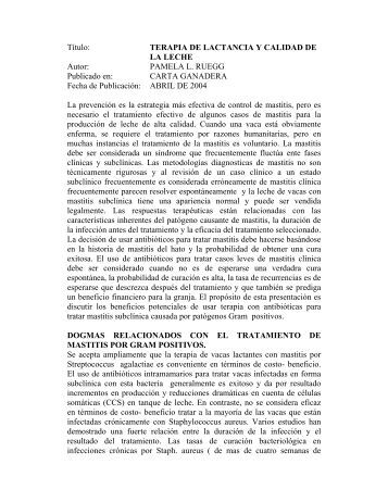 Título: TERAPIA DE LACTANCIA Y CALIDAD DE LA ... - GANYTEC