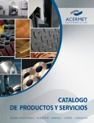 catálogo Acermet - Aceros Inoxidables, Planchas de Acero