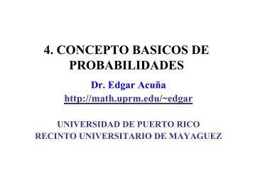 4. CONCEPTO BASICOS DE PROBABILIDADES - UPRM