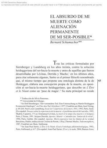 EL ABSURDO DE MI MUERTE Bernard ... - Biblioteca - ITAM