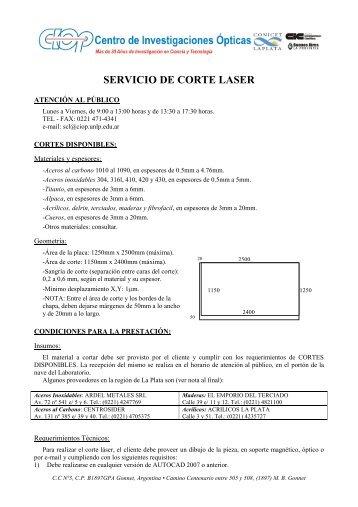 servicio de corte laser - CIOp