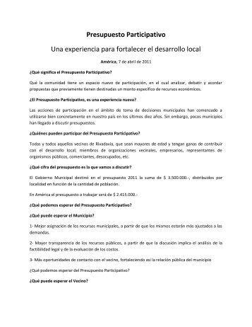 Presupuesto Participativo - Municipalidad de Rivadavia