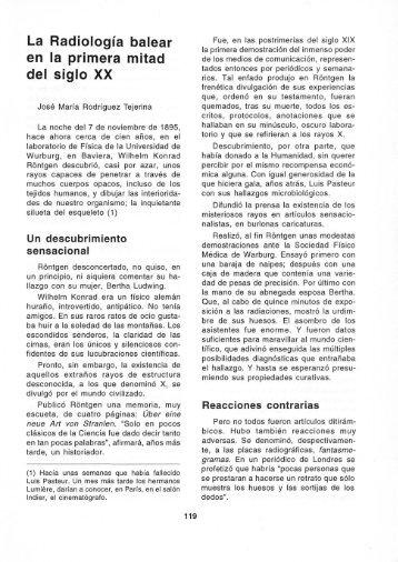 La Radiología balear en la primera mitad del siglo XX - Biblioteca ...