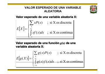 Definición de valor esperado y momento de una variable aletoria