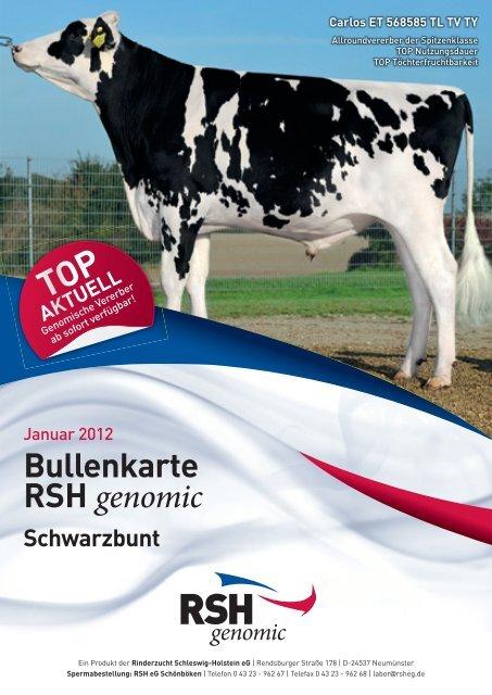 Bullenkarte RSH genomic - Rinderzucht Schleswig-Holstein e.G.
