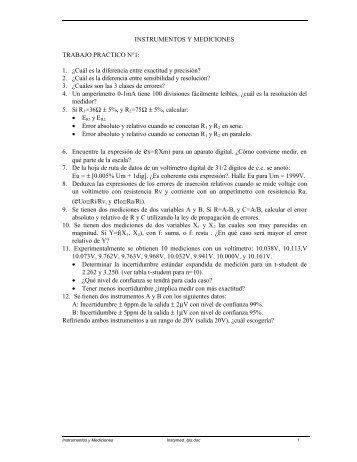 INSTRUMENTOS Y MEDICIONES TRABAJO PRACTICO N°1: 1 ...