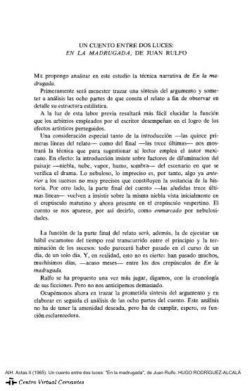 """Actas II. AIH. Un cuento entre dos luces: """"En la madrugada"""", de Juan ..."""