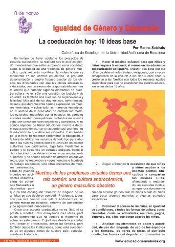 La coeducación hoy: 10 ideas base - Educación en valores