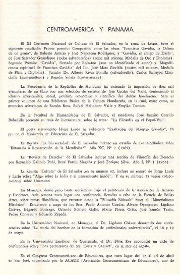 CENTROAMERICA y PANAMA - Universidad de Costa Rica