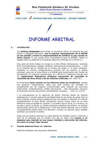 Informes Arbitrales Incidencias Encuentros - Real Federación ...