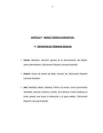 7 CAPÍTULO II : MARCO TEÓRICO-CONCEPTUAL 1.0 ... - Cybertesis