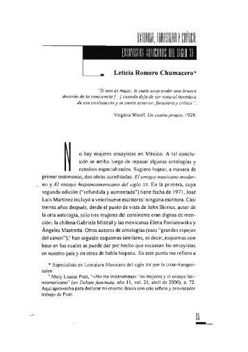 ensayista mexicanas del Siglo XX / Leticia Romero Chumacero