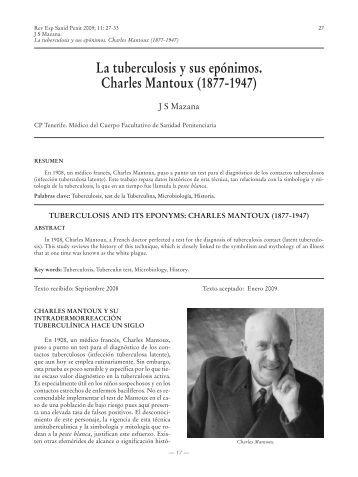 La tuberculosis y sus epónimos. Charles Mantoux ... - SciELO España