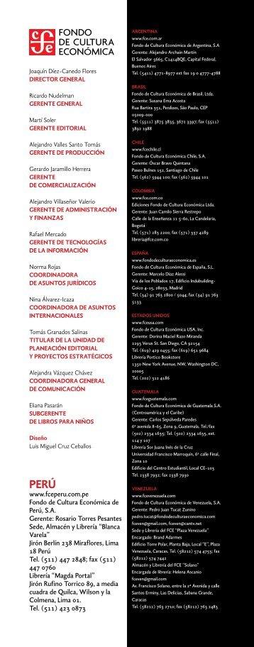 Folleto informativo sobre FCE en Perú - Secretaría de Relaciones ...