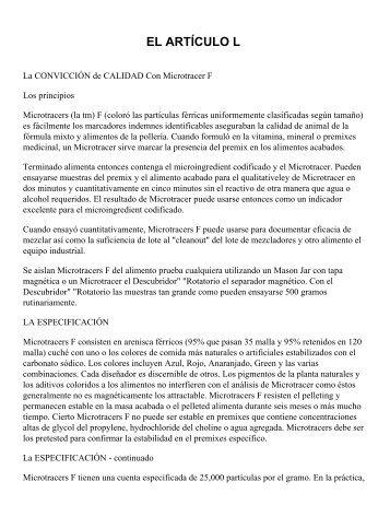 L. CALIDAD CONVICCIÓN CON ... - micro-tracers, inc.