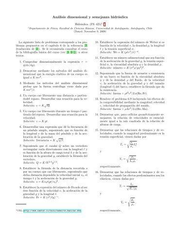 Análisis dimensional y semejanza hidráulica - Universidad de ...