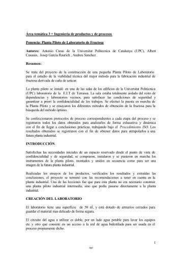 Planta Piloto de Laboratorio de Fructosa Autores: Antonio - Aeipro