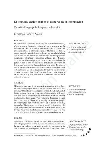 El lenguaje variacional en el discurso de la información - Comite ...