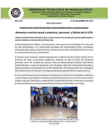 Armoniza convivio anual a maestros, personal y líderes de la UTN