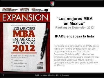 """""""Los mejores MBA en México"""" Ranking de Expansión 2012 IPADE ..."""