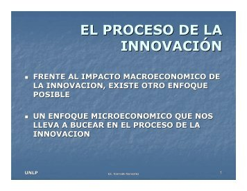 EL PROCESO DE LA INNOVACIÓN - Secretaria de Ciencia y Tecnica