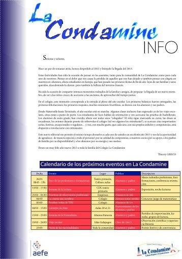 Calendario de los próximos eventos en La Condamine