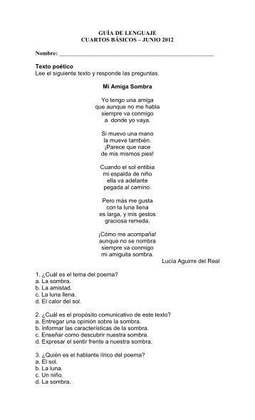 GUÍA DE LENGUAJE CUARTOS BÁSICOS - Colegio Apoquindo