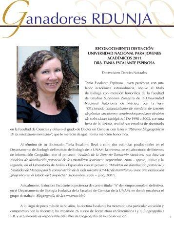 Dra.Tania Escalante Espinosa - dgapa unam