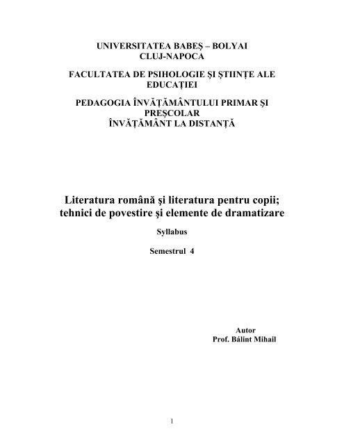 Literatura română şi literatura pentru copii - Universitatea