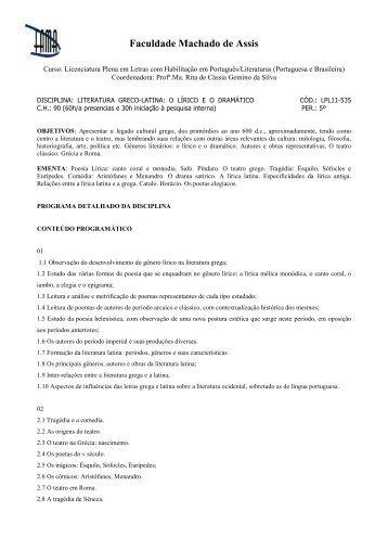 literatura greco-latina o lírico eo dramático - Faculdade Machado de ...