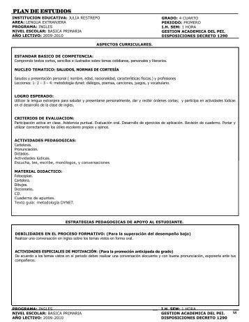 Grado Cuarto - Institución EducativaJulia Restrepo