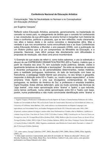 Eugénia Vasques - Conferência Nacional de Educação Artística