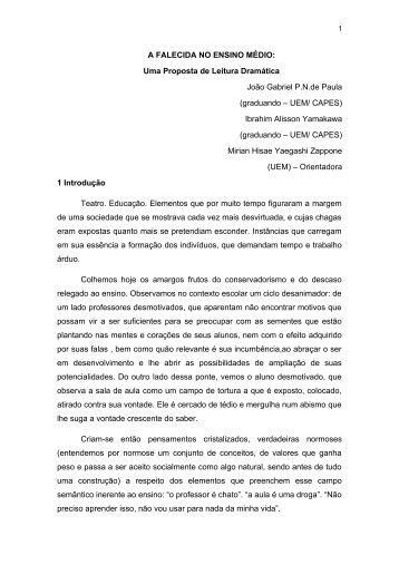 A FALECIDA NO ENSINO MÉDIO: Uma Proposta de Leitura ... - pucrs