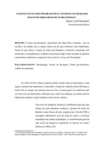 O ESPAÇO NO TEATRO PÓS-DRAMÁTICO ... - Ceart - Udesc