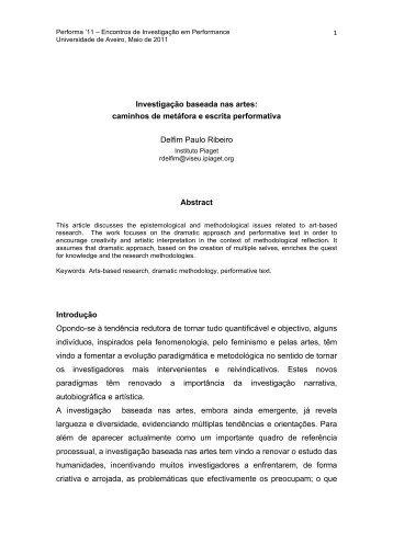 Investigação baseada nas artes - Performa - Universidade de Aveiro