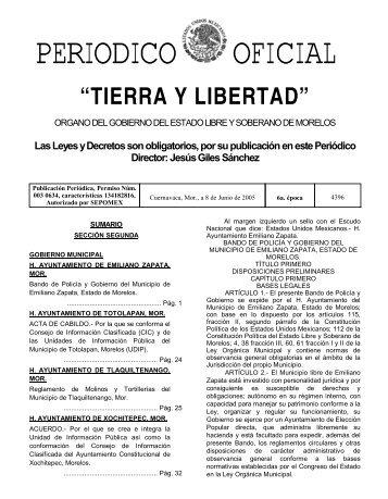 4396 2A sección - Periódico Oficial - Gobierno del Estado de Morelos