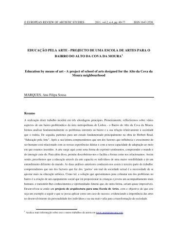 EDUCAÇÃO PELA ARTE - PROJECTO DE UMA ESCOLA DE ...
