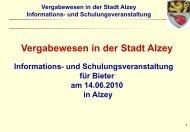 Vergabewesen in der Stadt Alzey Informations