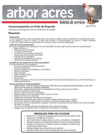 Arbor Acres Boletín de Servicio: Inmunosupresión en Pollo - Aviagen