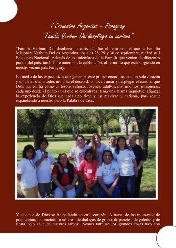 """I Encuentro Argentina – Paraguay """"Familia Verbum Dei despliega tu ..."""