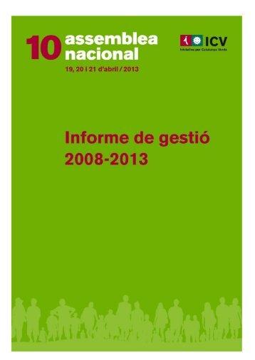Informe de gestió - 10a Assemblea ICV