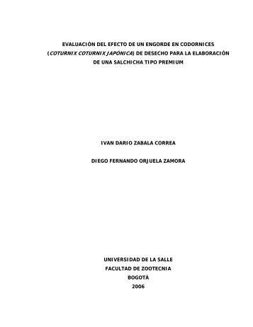 EVALUACIÓN DEL EFECTO DE UN ENGORDE EN CODORNICES ...