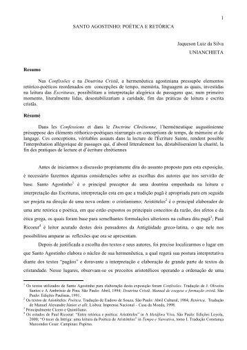 POÉTICA E RETÓRICA Jaqueson Luiz da Silva - Faculdades Padre ...