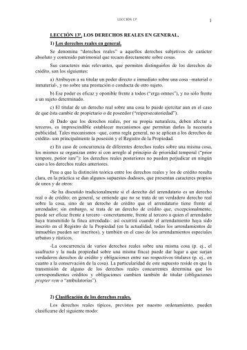 1 LECCIÓN 13ª. LOS DERECHOS REALES EN ... - OCW UPCT