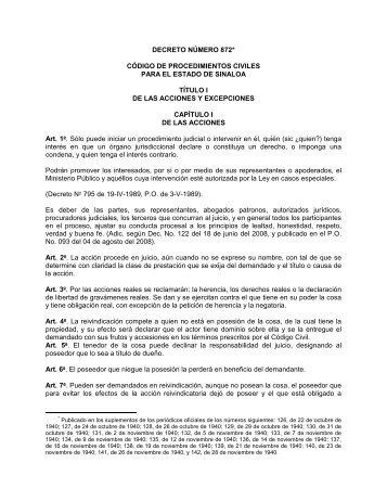Código de Procedimientos Civiles para el Estado de Sinaloa
