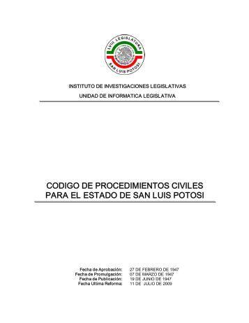 codigo de procedimientos civiles para el estado de san luis potosi