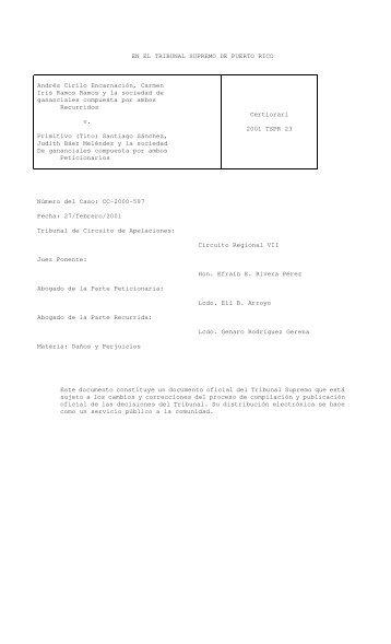 2001 TSPR 23 - Rama Judicial de Puerto Rico