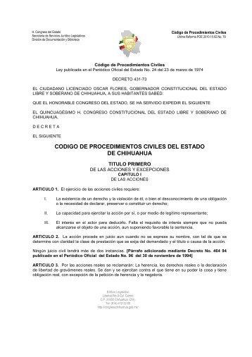 codigo de procedimientos civiles del estado de chihuahua